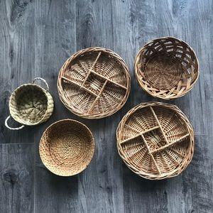 Set of 5 Boho Wall Baskets